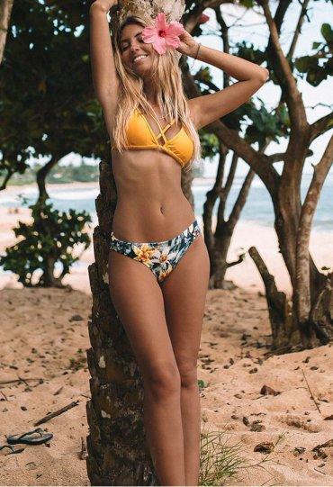 Angelsin Baskılı Üstü Sarı Bikini Takım