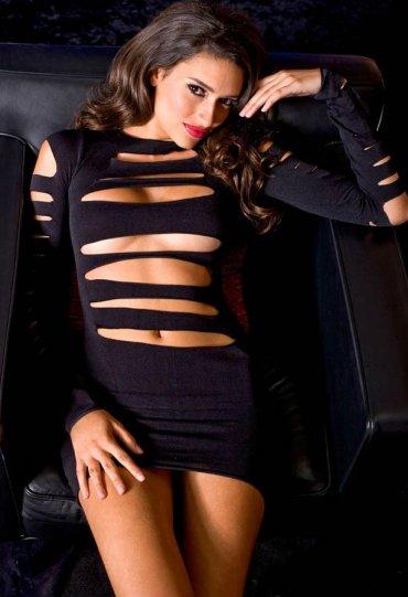 LAzer Kesim Sexy Fantazi Gece Elbise