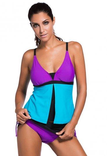 Şık Renkli Tankini Etekli Bikini Takım