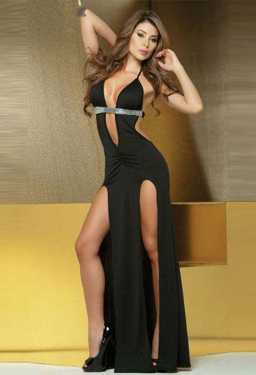 Siyah Uzun Şık Gece Elbisesi