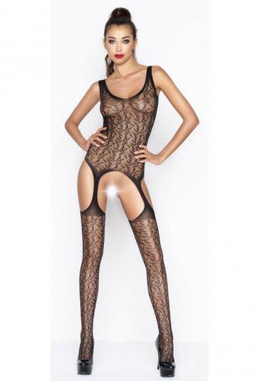 Sexy Askılı Siyah Vücut Çorabı