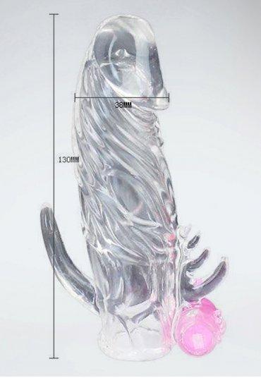 Titreşimli Klitoris Uyarıcılı Silikon Yapıya Sahip Penis Kılıfı
