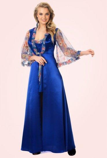 Mite love mavi sabahlık ve gecelik takım Çiçek desenli