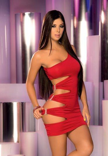 Kırmızı Taşlı Aksesuarlı Fantazi Elbise