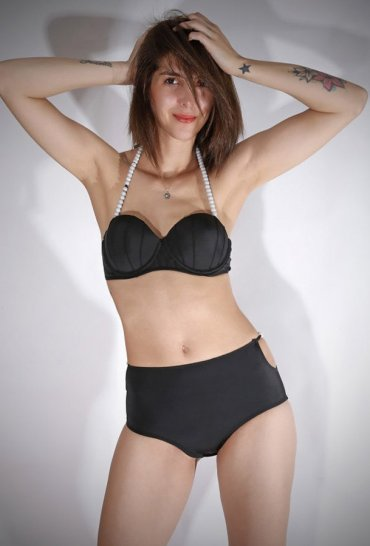 Angelsin Siyah Boncuklu Şık Bikini