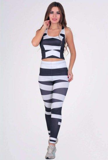 Kadın Fitness Takım Siyah Beyaz Tayt