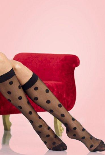 Puantiyeli Dizaltı Çorap Siyah
