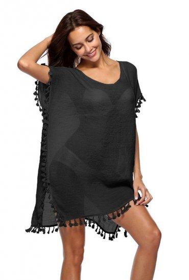 Nokta Shop Siyah Plaj Elbisesi Pareo
