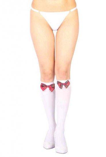 Diz Altı Kırmızı Ekose Kurdeleli Çorap Ve G String Seti