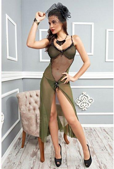 Yeşil Uzun Tül Gecelik Seksi Kadın Giyim