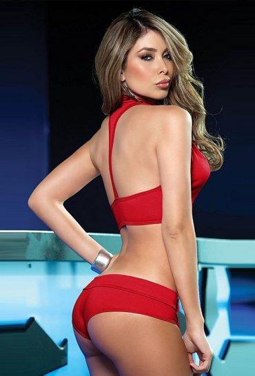 Kırmızı Seksi Büstiyer Şort Takım