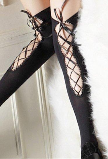Siyah Özel Tasarım Jartiyer Çorap