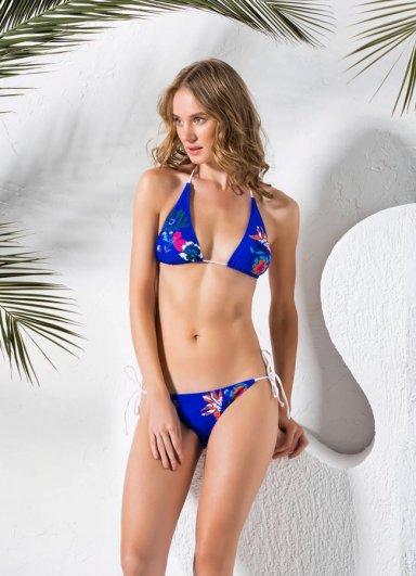 Çiçek Desenli Mavi Bikini Shana