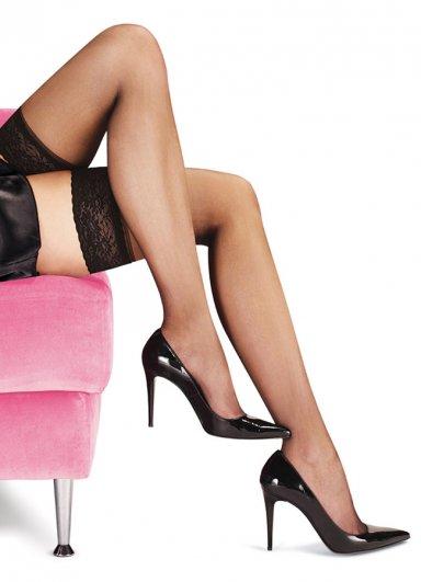 Dantelli Slikonsuz Siyah Jartiyer Çorabı