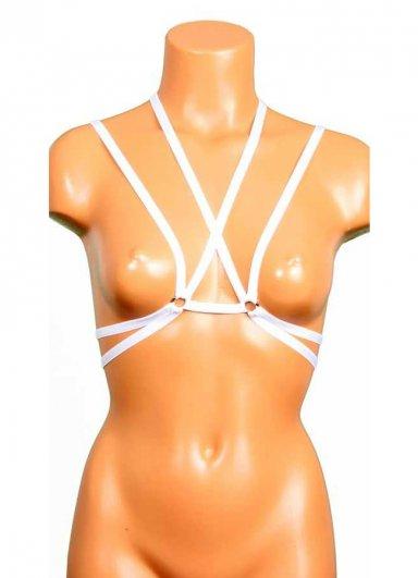Uzun Şeritli Beyaz Dekolte Bralet Aksesuarı