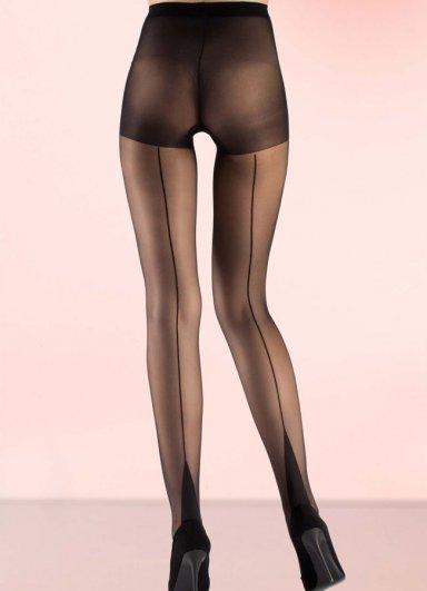 Nokta Shop külotlu Çorap Siyah 15 Denye Arkası Çizgili