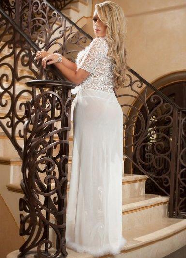 Beyaz Uzun Seksi Elbise