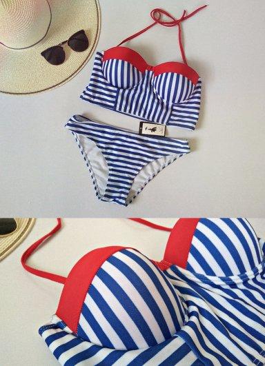 Mavi Cizgili Şık Bikini Takım