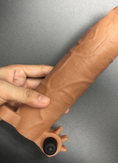 Realistik Titreşimli Penis Kılıfı Uzatmalı