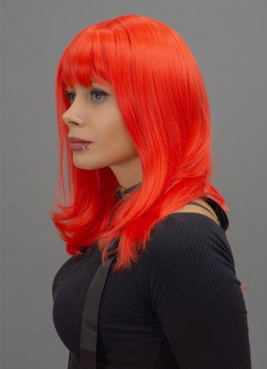 Orta Boy Renkli Kırmızı Peruk