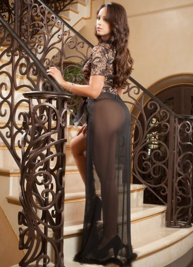 Siyah Uzun Seksi Elbise