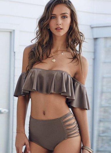 Kahverengi Çok Şık Bikini Üst