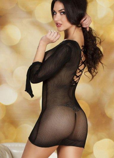 Siyah Mini Transparan Fantazi Elbise