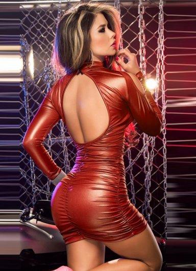 Kırmızı Lame Düz Mini Elbise