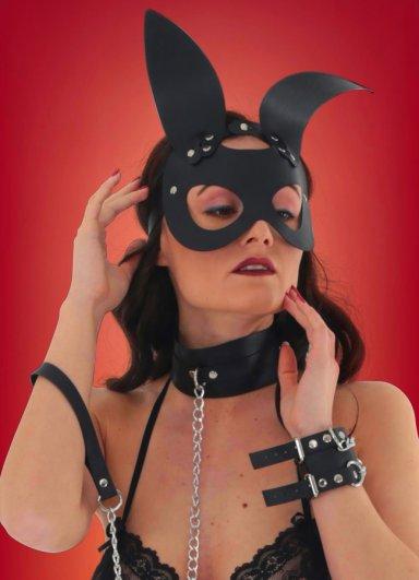 Siyah Deri Tavşan Kız Fantazi Maske