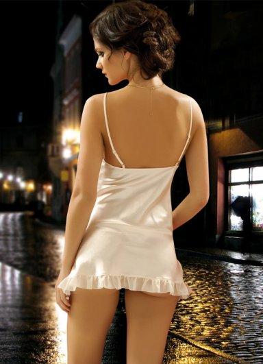 Saten Gecelik Ekru Fantazi Giyim