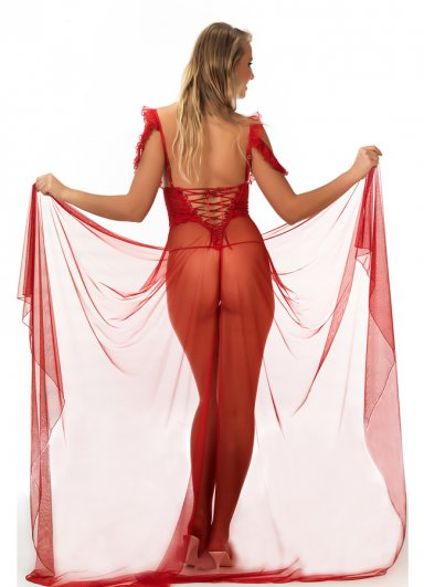 Kırmızı Tül Dantelli Sexy Gecelik Takım