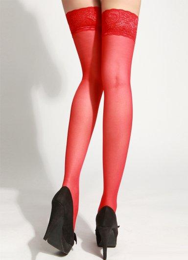 Kırmızı Dantelli Fantezi Çorap