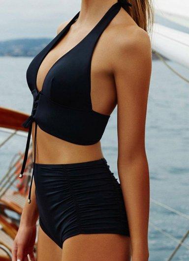 Siyah Yüksek Bel Bikini Takımı