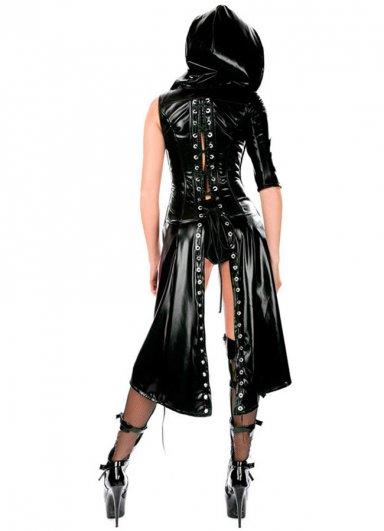 Lame Deri Kapşonlu Kostüm