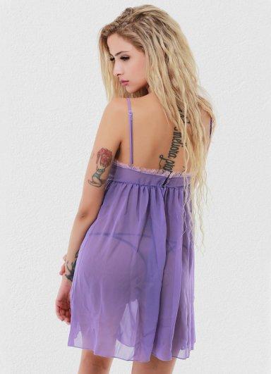 Lila Seksi Kadın Gecelik Fantazi Giyim