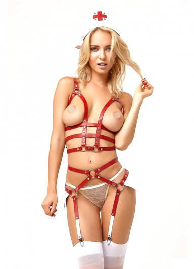 Deri Hemşire Kostüm Harness Takım