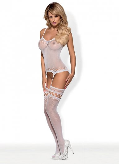 Jartiyerli Beyaz Vücut Çorabı