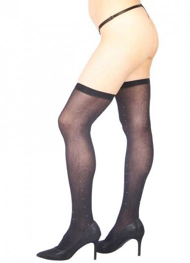 Parlak Taş Tasarımlı Diz Üstü Jartiyer Çorabı