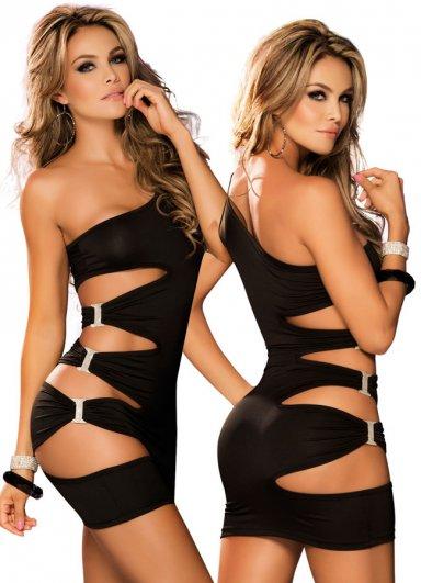Siyah Taşlı Aksesuarlı Sexy Fantazi Elbise