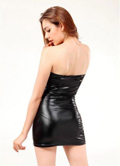 Lame Straplez Mini Elbise