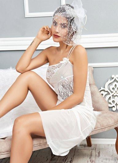 Uzun Beyaz Seksi Gecelik Fantazi Giyim