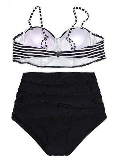 Siyah Beyaz Üstü Çizgili Bikini Takım