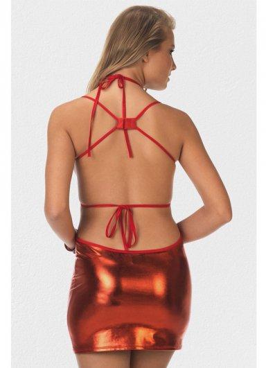 Kırmızı Fantazi Dekolte Deri Elbise