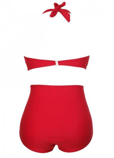 Kırmızı Yüksek Bel Şık Bikini