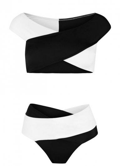 Siyah Beyaz Çapraz Bikini Üst