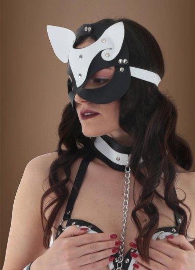 Siyah Beyaz Deri Fantazi Maske Pusy Cat