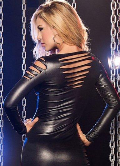 Lazer Kesim Mini Deri Elbise