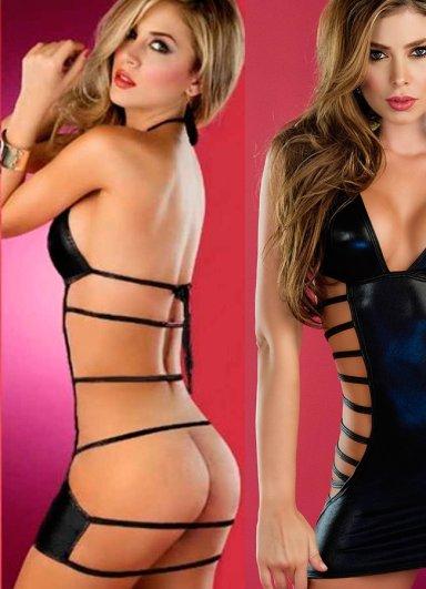 Siyah Deri Görünümlü Fantazi Giyim