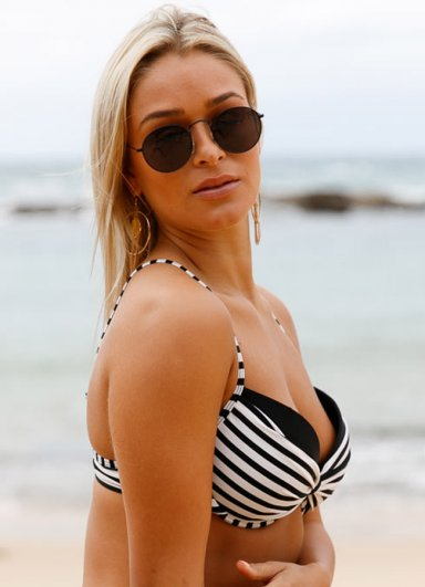 Siyah Beyaz Destekli Bikini Üst