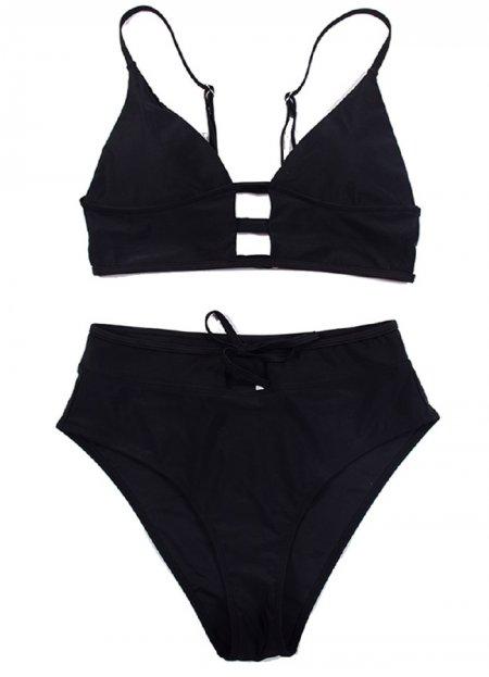 Siyah Yüksel Bel Şık Bikini Takım   0545 356 96 07